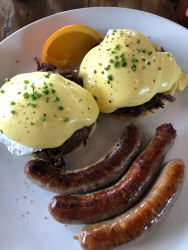 Certified Good Bite: Saddle Creek Breakfast Club - Shown here: Eggs Benny and sausage
